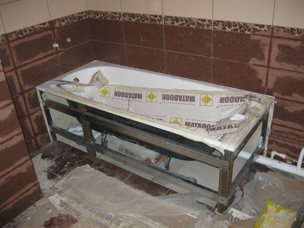 Установка акриловой ванны своими руками 73